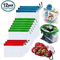 Bolsas reutilizables de malla de producción Bolsas lavables para almacenaje de tiendas de comestibles, frutas, vegetales y juguetes costuras dobles, resistentes, con etiquetas que indican el peso y en varios tamaños