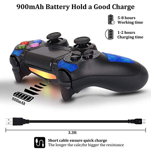 Playstation 4 DualShock 4 Controller - OUBANG PS4 Controller Wireless Remote Control with Micro USB Charging Cable for Playstation 4/PS4 Pro/PS4 Slim/PC/PS TV(Sapphire