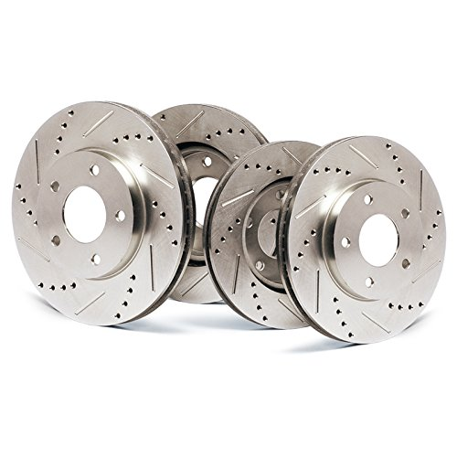 Front + Rear Premium Slotted & Drilled Rotors SY013833 | Fits: 2004 04 2005 05 Buick Rainier CXL or CXL Plus Models with 4.2L 6 Cylinder (4.2l 6 Cylinder Engine)