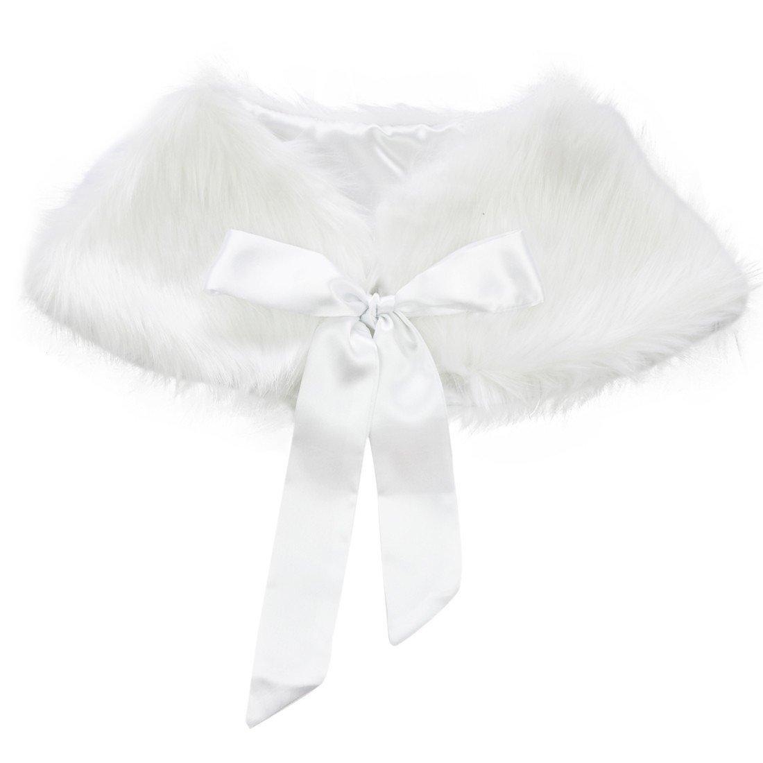 Freebily Flower Girls Faux Fur Wraps Princess Shoulder Cape Kids First Communion Wedding Bridesmaid Dress Bolero Shrug White One Size