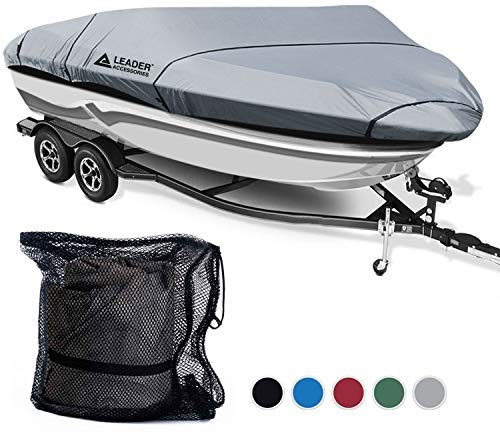 Polyester Heavy Duty Boat Cover - Leader Accessories 600D Polyester 5 Colors Waterproof Trailerable Runabout Boat Cover Fit V-hull Tri-hull Fishing Ski Pro-style Bass Boats,Full Size (16'-18.5'L Beam width up to 94'', Grey)