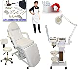 2 in 1 steamer and mag lamp - LCL Beauty 11 in 1 Multifunction Facial Machine & Adjustable Electric Massage Bed Chair Package