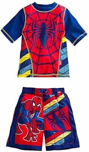 e2377e6e06 Disney Store Marvel Spider-Man Rash Guard And Swim Trunks Set Boy Size 5/