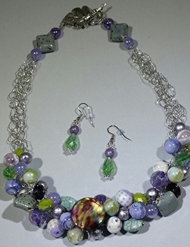 Spring Violets Crocheted Necklace and Earrings
