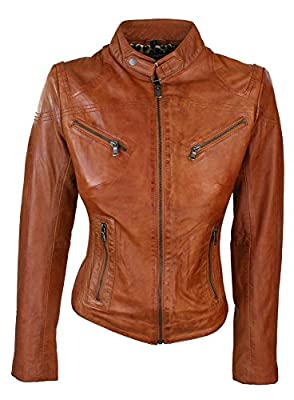 Ladies Real Leather Tan Biker Style Fashion Jacket