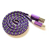 Textile-Cable braided Purple - 1 Meter charging cable, data cable - micro USB for Samsung Galaxy S4, S4 mini, S3, S3 mini, S2 and other Smartphones with Micro USB port by OKCS