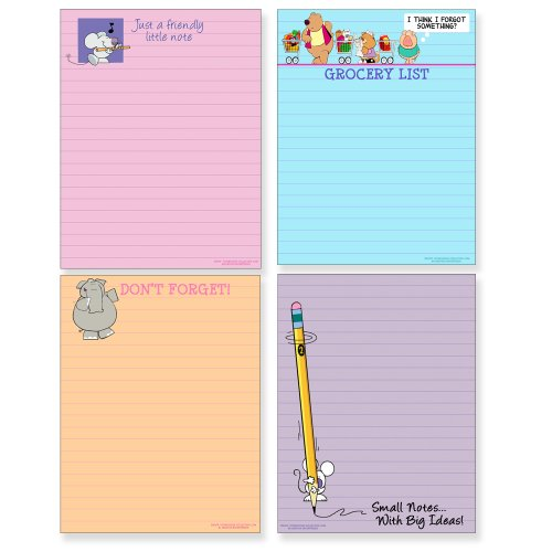 Cute Note Pad Assorted Pack - 4 Funny Pads