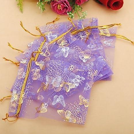 100 piezas de gangas grandes Organza de oro de la mariposa bolsa de la joyería del bolso del regalo del favor de la