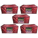 Fashion Bizz Satin Saree Cover - Set of 5(Maroon, Large)