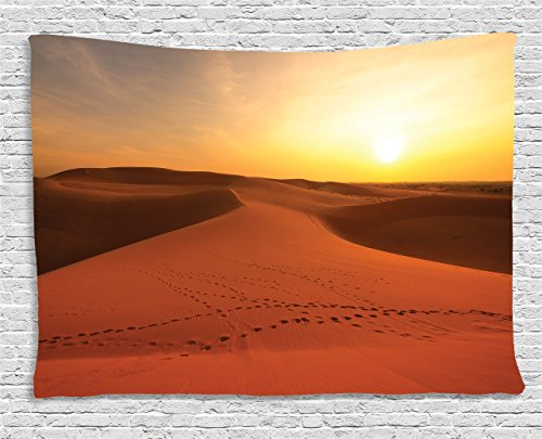 Ambesonne Desert Tapestry, Footprints on Sand Dunes at Sunrise Hot Dubai Landscape Travel Destination, Wall Hanging for Bedroom Living Room Dorm, 60 W X 40 L Inches, Yellow Orange