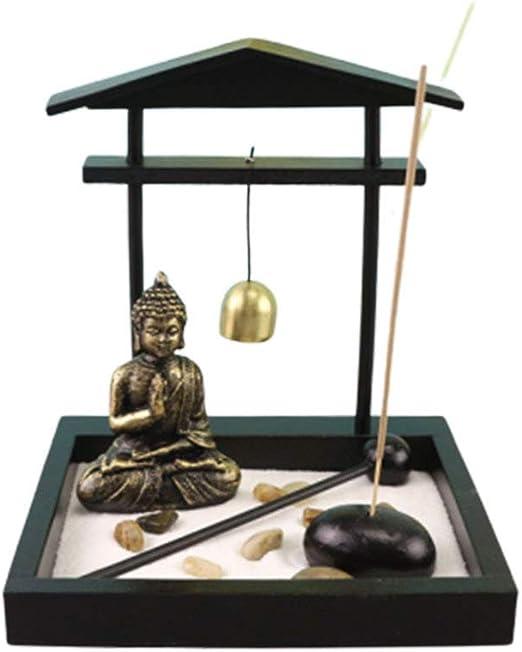Toyvian Escritorio Zen Arena Jardín Meditando Estatua de Buda Bandeja de Arena de Madera Incienso Titular con Campana para Oficina Hogar Miniatura Paisaje Decoración: Amazon.es: Hogar