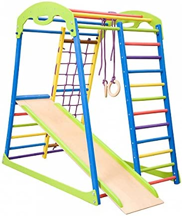 an image of a wooden climbing ladder with wooden slide in colorful hue.