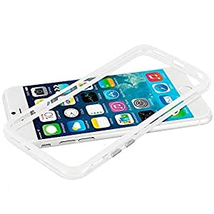 Accessory Planet(TM) White / Clear TPU Bumper Frame with Metal Buttons Case Cover for Apple iPhone 6 Plus (5.5)