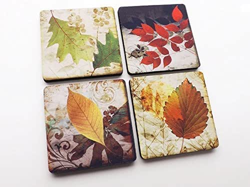 Autumn Leaves Fall Coasters 3.5 inch neoprene set of 4 drink beverage Thanksgiving home decor hostess gift