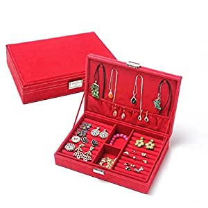 Ownsig Vogue Jewelry Display Box Ring Earring Necklace Nobby Organizer Case Stand Red