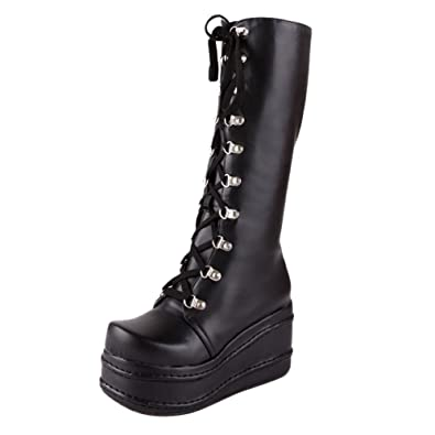 e61e660511c Show Shine Women s Casual Leather Knee-high Platform Lace-up Boots ...