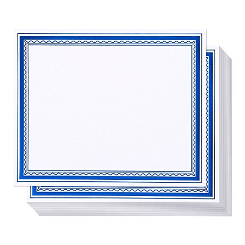 50 Pack Certificate Papers - Award Certificates Paper, Blank Certificates, Diploma Paper - For Students, Math, Teachers, Blue Foil Border, Printer Friendly Paper, 8.5 x 11 Inches