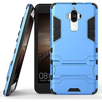 Funda para Huawei Mate 9 (5,9 Pulgadas) 2 en 1 Híbrida Rugged Armor Case Choque Absorción Protección Dual Layer Bumper Carcasa con pata de Cabra (Azul)