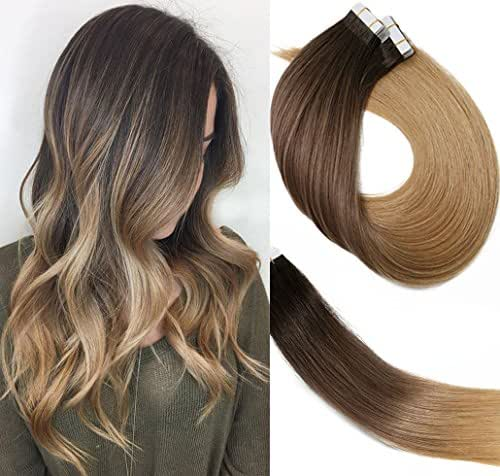 Tape In Hair Extensions Ombre Extensions 20pcs/50g Per Set #2T6T27 Dark Brown Fading to Chestnut Brown and Honey Blonde Double Sided Tape Skin Weft Remy Glue in Extensions Human Hair 14 Inch