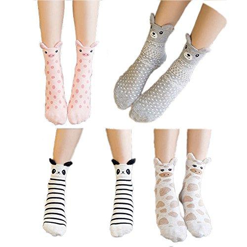 Ladies Gift Socks Set (Women's 4 Pairs Cute Animal Pattern Cotton Socks Gift Set Soft Stockings for Women, Girls, Kids (Animal Pattern))