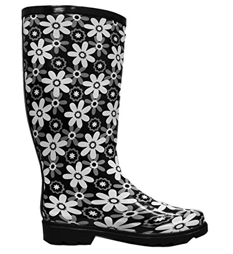 Cambridge Print Print Women's Colorful Black Boots Waterproof Select Pattern Rain Welly Flowers rqSrg