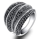 Mytys Vintage Silver Novelty Statement Rings for Women Fashion Cluster Black Marcasite Paved Statement Ring for Ladies (7)