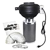 CastleGreens 4 Inch 190CFM Duct Inline Fan with 4'' Carbon Filter 8 Feet Ducting Combo for Grow Tent Ventilation
