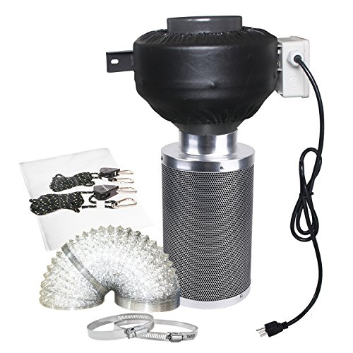 CastleGreens 4 Inch 190CFM Duct Inline Fan with 4'' Carbon Filter 8 Feet Ducting Combo for Grow Tent Ventilation by CastleGreens