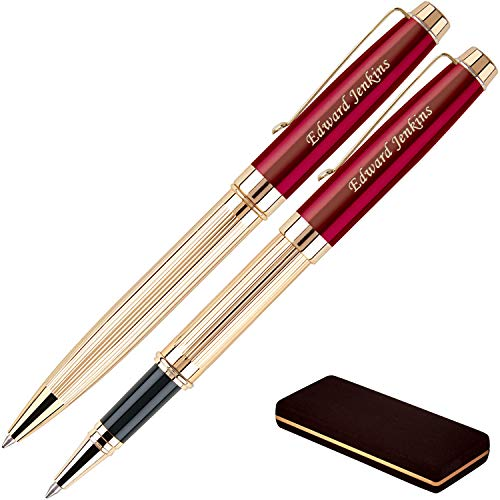 Personalized Braxton Ballpoint and Rollerball Pen Set - Red. Real 18krt Gold Plated Gift Set for a Man or Women, Custom Engraving is Included. Comes in a Pen Case ()