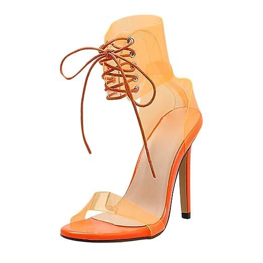af1be53942816 Amazon.com: Hunzed Women【Transparent High Heels】 Lace-Up Wedge ...
