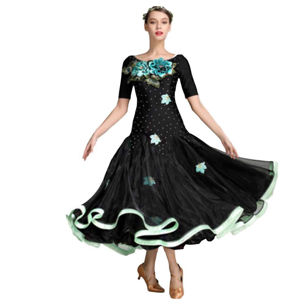 Women Dance Ballroom Competition Dresses Modern Waltz Foxtred Standard Ballroom Embroidery Dress