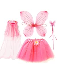 4Pcs Girls Princess Fairy Costume Set with Wings, Tutu, Wand and Floral Wreath Veil for Children Ages 3-6 (Pink)