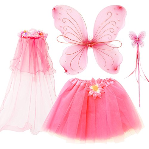 fedio 4Pcs Girls Princess Fairy Costume Set with Wings, Tutu, Wand and Floral Wreath Veil for Children Ages 3-6 (Pink) -