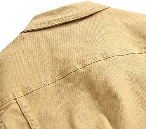Men jacket XIELH Denim Giacca Uomini Solido Cappotto Outwear Turn-Down Collare Maschio Casual Denim Giacca Plus Size,Chiaro Khaki,L  VXXyp
