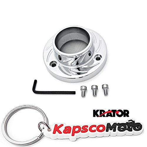 Krator Artic Cat DVX400 Kawasaki KFX400 Suzuki LT-Z400 ATV Exhaust Tip Muffler Power Outlet Polished Chrome + KapscoMoto Keychain