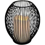 """Everlasting Glow 6.25"""" x 7"""" Wire Open Work Lantern and LED Candle"""