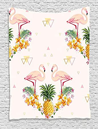 ambesonne flamingo decor collection geometric pineapple flamingo tropical summer party theme artistic design bedroom
