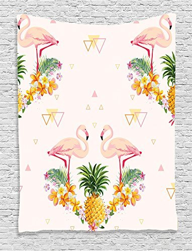 Ambesonne Flamingo Collection Geometric Pineapple