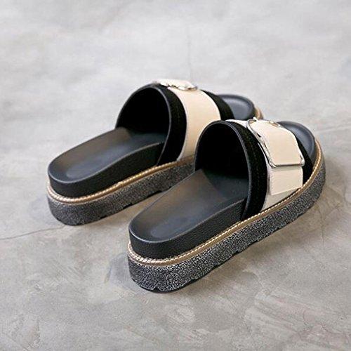 Planos Tamaño Gruesa Scrub Moda Punta Color Zapatos De Verano Suela Poliuretano CN36 Vamp UK4 Abierta Hembra Sandalias Zapatillas 1 EU36 a8pOq