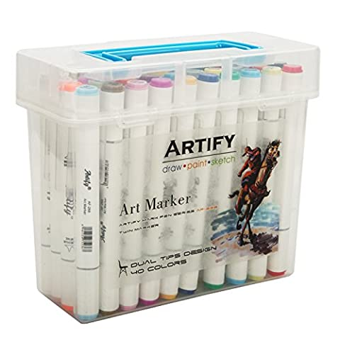 Artify Premium Art Marker Set 40 Colors Dual Tipped Twin Marker Pens with Plastic Carrying Case - Felt Tip Font