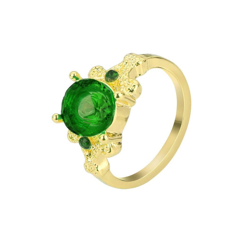 YOMXL Vintage Round Gemstone Women's Wedding Ring,Big Stone Cubic Zirconia Engagement Rings Natural Opal Diamond Ring Gift
