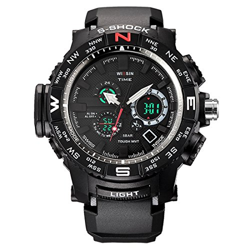 Military Digital Watch Swiss Quartz Dual Time Display with Resin Straps Multifunctional Wristwatch (Silver)