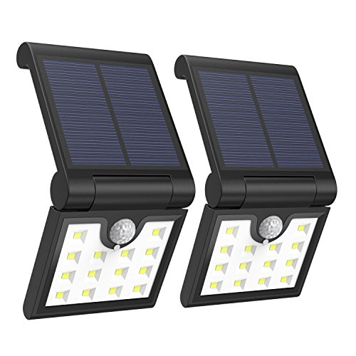 Foldable Solar Lights [2PCS], MoKo 14 LED Solar Powered Motion Sensor Night Lights Waterproof Wall Lamp Spotlights Outdoor Security Lighting for Patio Courtyard Garden Fence Pathway Street - BLACK
