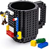 TOYAMBA Build-on Brick Mug, Black Coffee Cup with Building Blocks