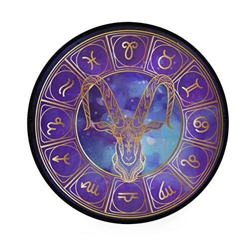 YOLIKA Home Decor Light Round Area Rug, Capricorn Zodiac Sign Astrological Horoscope Collection,Super Soft Circle Carpet (4'3