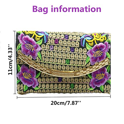 coin Women Bag Purse Purple2 Double Handmade Embroidery sided EwICxWTWqz