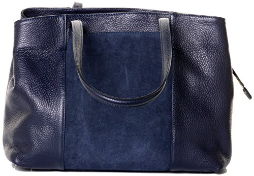 Primo Sacchi Italian Textured Leather Navy Blue Hand Made Large Long Handle Shoulder Bag Handbag, with Suede Front Panel Pocket, Includes a Branded Protective Storage Bag