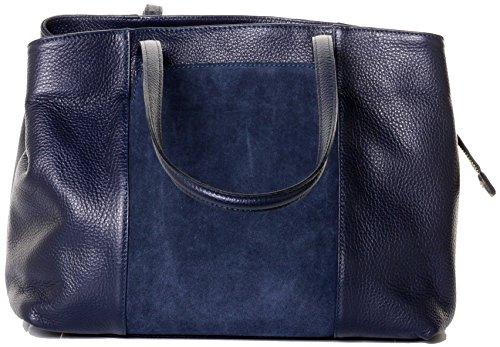 Primo Sacchi® italienischen perforiertem Leder handgefertigt großen langen Griff Schultertasche Handtasche mit Wildleder Frontplatte Tasche enthält eine Marke schützenden Aufbewahrungstasche Marine