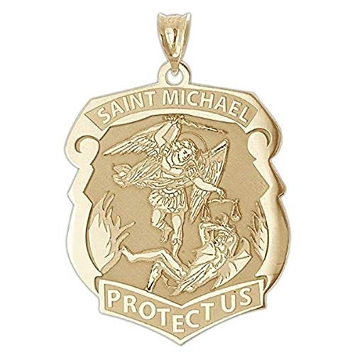 PicturesOnGold.com Saint Michael Badge - 2/3 X 3/4 Inch Size of Nickel, Solid 14K White Gold ()