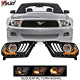 Winjet CHRNG-0612-B-SQ 2018 S550 Style Aftermarket Performance LED Glow Bar DRL Projector Headlights With Sequential Signal Clear Lens for 2010-2012 S197 Ford Mustang